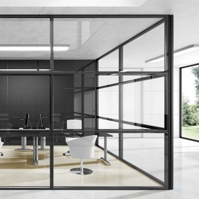 Partitii birouri Ideal Form Team, Planet Evo F100 D System Partition Double Glass