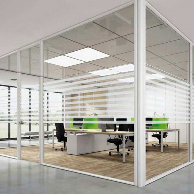 Partitii birouri Ideal Form Team, Planet Evo F200 Horizontal Monoglass System Wall