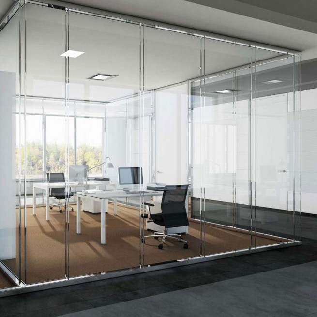 Partitii birouri Ideal Form Team, Planet Evo F25 D Dual Single-Glazed Wall System