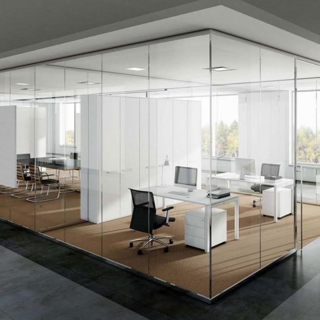 Partitii birouri Ideal Form Team, Planet Evo F25 S Monoglass Wall System