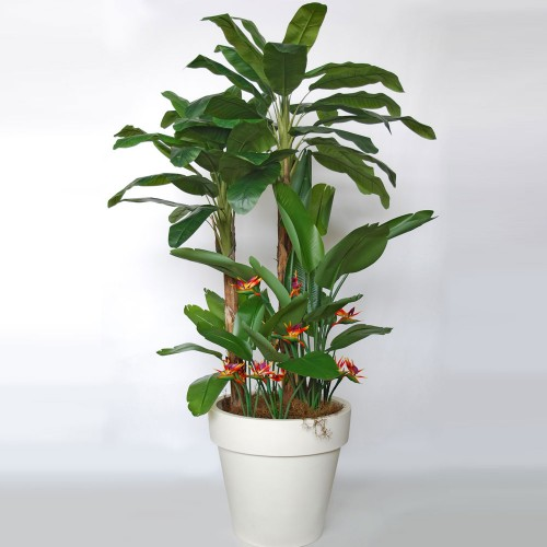 Planta semi-artificiala Ila, Banana Tropical Arrang Green Orange - 280 cm