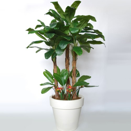 Planta semi-artificiala Ila, Banana Tropical Bush Green Orange - 280 cm